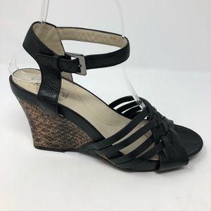 Raffini Umberto 38 Wedge Sandals Shoes Black 7.5 8